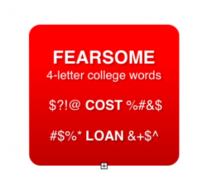 Fearsome 4-letter college words. Photo by Wendy David-Gaines